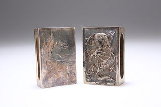 TWO CHINESE SILVER MATCHBOX SLEEVES, the first engraved with Pegasus, the s