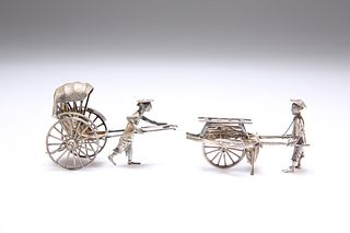 TWO CHINESE SILVER RICKSHAW MODELS, the first by Cumshing, Canton; the seco