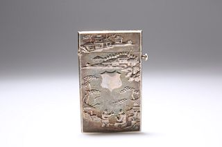 A CHINESE WHITE METAL CARD CASE, rectangular with hinged cover, chased to t