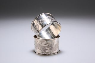 TWO CHINESE SILVER NAPKIN RINGS, of circular form, the central band engrave