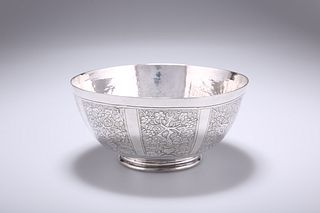 A CHINESE SILVER BOWL, probably 18th Century, circular, chased with vignett