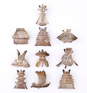 A SET OF TEN CHINESE SILVER PLACE CARD HOLDERS, each with easel back, desig
