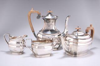 AN ELIZABETH II FOUR PIECE SILVER TEA AND COFFEE SERVICE, by Harrison Fishe