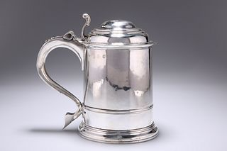 A GEORGE I SILVER LIDDED TANKARD,?by Richard Bayley,?London 1718, tapering