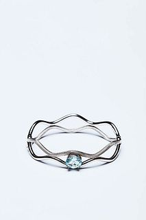 RIGID BRACELET IN WHITE GOLD AND AQUAMARINE
