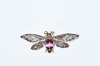 BUTTERFLY WITH MOBILE WINGS BROOCH- LIBERTY