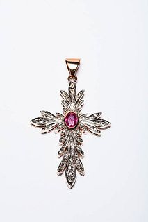CROSS PENDANT  WITH  CENTRAL RUBY