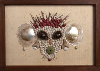 PAINTING OF A MONKEY IN SEASHELL