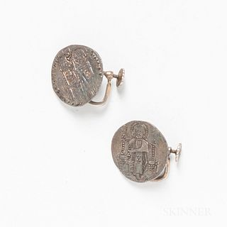 Pair of Byzantine Coin Earrings.