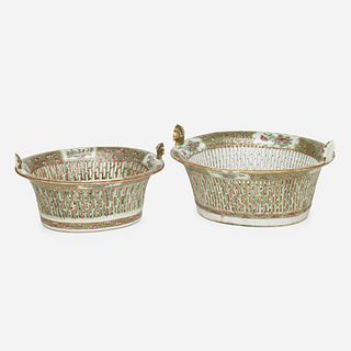 Chinese Export, Canton Rose baskets, set of two