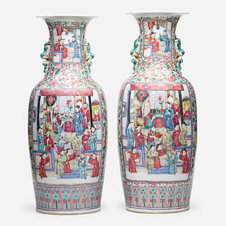 Chinese Export, Large Canton Rose 'Figural' vases, pair