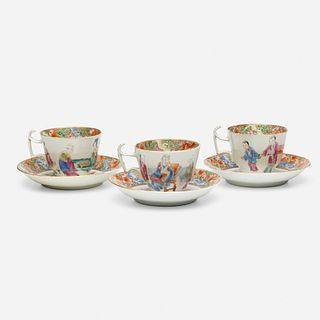 Chinese Export, Canton Rose teacups and saucers, set of three