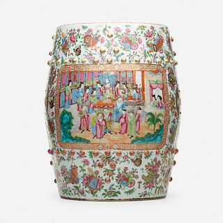 Chinese Export, Canton Rose drum stool