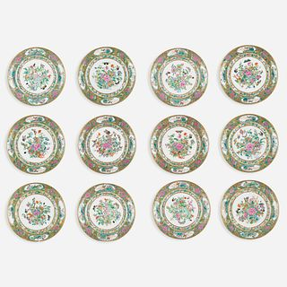 Chinese Export, Famille Rose dinner plates, set of twelve