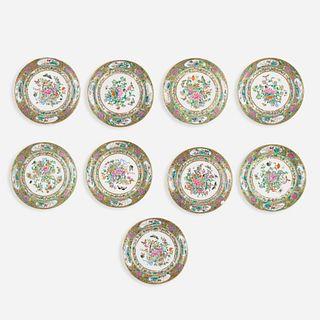 Chinese Export, Famille Rose dessert plates, set of nine