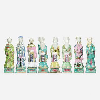 Chinese Export, Famille Rose Immortals, collection of eight