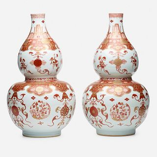 Chinese Export, Iron-Red double gourd vases, pair