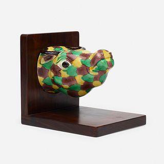Chinese Export, sancai-glazed stirrup cup