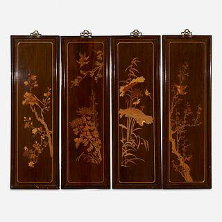 Chinese, inlaid panels, pair