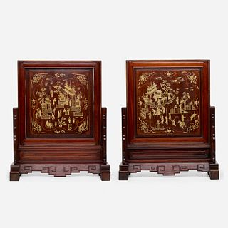 Chinese Export, 'Landscape' table screens, pair