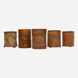 Chinese, carved bamboo brush pots, collection of five