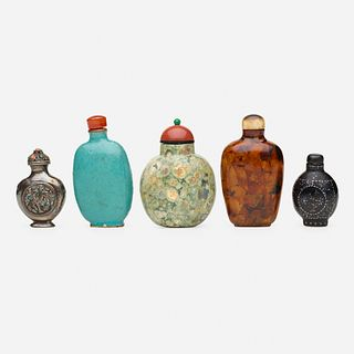 Chinese, snuff bottles, collection of five