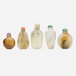 Chinese, agate and jade snuff bottles, collection of five