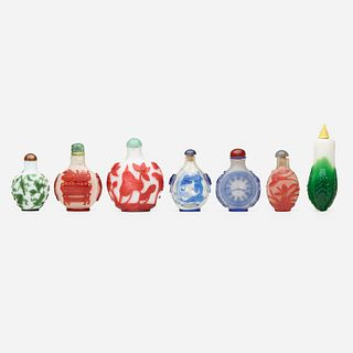 Chinese, Peking glass snuff bottles, collection of seven