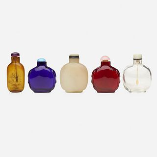 Chinese, Peking glass snuff bottles, collection of five