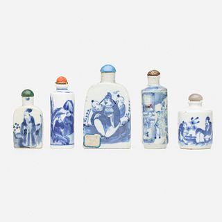 Chinese, Blue and White snuff bottles, collection of five