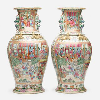 Chinese Export, Large Canton Rose vases, pair