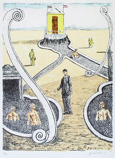 """Giorgio de Chirico<br><br>The Guest of the Mysterious Bathers, 1969<br>Litography on paper, 71,5 x 50,5 cm<br>""""L'Ospite dei Bagnanti Misteriosi"""" is an"""
