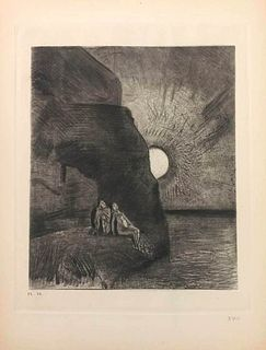 """Odilon Redon<br><br>Illustration from the series """"Les Fleurs du Mal"""", 1923<br>Print, 32,5 x 25 cm<br>Monogram of the artist on plate. Edition of 150 c"""