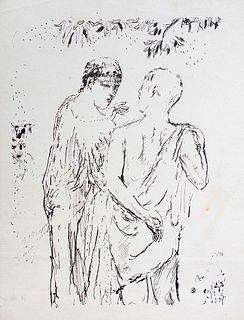 """Pierre Bonnard<br><br>Walk, 1930<br>Print, 33 x  24 cm<br>Monogram of the artist on plate. From the series: """"La Vie de Sainte Monique"""".<br>Pierre Bonn"""