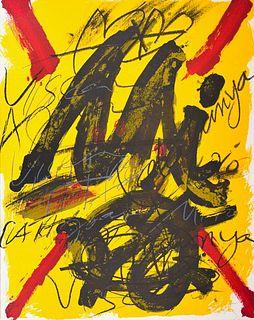 Antoni Tapies<br><br>Hommage à Joan Miro / L'émerveille merveilleux, 1973<br>Print, 50 x 40 cm<br>Hommage à Joan Miró / L'émerveille merveilleux is an