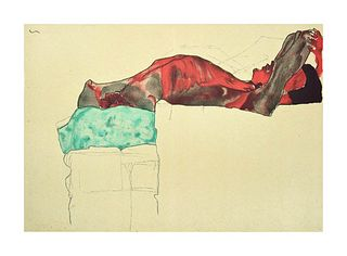 Egon Schiele<br><br>Reclining Male Nude with Green Cloth, 2007<br>Colored litograph, 50 x 63.8 cm<br>Reclining Male Nude with Green Cloth is a beautif