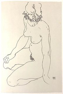 Egon Schiele<br><br>Kneeling Female Nude, Turning to the Right, 2007<br>Colored litograph, 50 x 33 cm<br>Kneeling Female Nude, Turning to the Right is