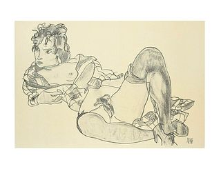 Egon Schiele<br><br>Reclining Woman, 2007<br>Colored litography, 50 x 62 cm<br>Reclining Woman is a beautiful and original lithograph from the portfol
