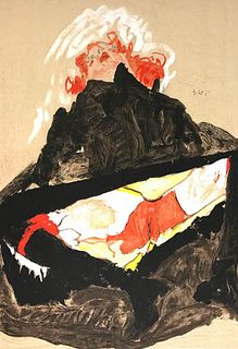 Egon Schiele<br><br>Red-Haired Girl with Spread Legs, 2007<br>Colored litography, 49,8 x 31,6 cm<br>Red-Haired Girl with Spread Legs is a beautiful an