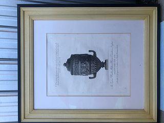 "Italian Print/etching by Giovanni Battista Pianesi of An Antique Vase 33.5 x 39"""