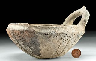 Cypriot Pottery Bowl with Handle and Incised Design