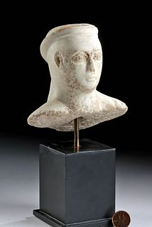 Fine Cypriot Marble Bust of Male Youth