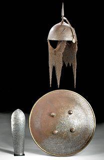 19th C. Indo-Persian Iron Helmet, Shield, & Arm Guard