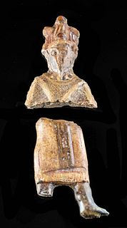 Lot of 2 Egyptian Glass Figural Fragments - Bust & Legs