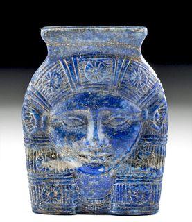 Superb Egyptian Lapis Amulet of Hathor