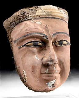 Egyptian Painted Gesso Wood Mummy Mask Glass Eyes
