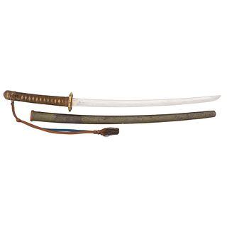 Shinto Japanese Samurai Sword (Wakizashi) Signed Tamba no Kami Yoshimichi in Gunto Mounts