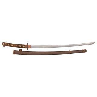 Showato Japanese Samurai Sword (Katana) in Shin-Gunto Mounts signed Tenryuko Yoshitaka