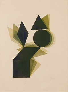 Pol Bury (Belgian, 1922-2005) L'Osage Disque Triangle Bleu, 2005