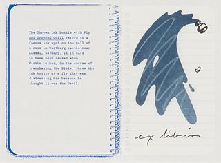 Claes Oldenburg (American, b. 1929) Untitled, Ex Libris for Printed Matter, Thrown Ink Bottle With Fly, 1991